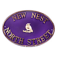 Buy The House Nameplate Company Personalised Solid Brass Oval House Sign, Bird Motif Online at johnlewis.com