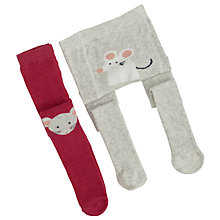 Buy John Lewis Baby Mouse Tights, Pack of 2, Berry/Grey Online at johnlewis.com