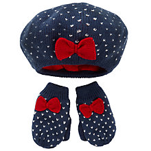 Buy John Lewis Baby's Beret and Mitten Set, Multi Online at johnlewis.com