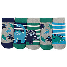 Buy John Lewis Baby Dinosaur Socks, Pack of 5, Multi Online at johnlewis.com