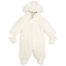 Buy John Lewis Baby's Rosebud Faux Fur Snowsuit, Cream Online at johnlewis.com