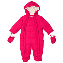 Buy John Lewis Baby's Wadded Snowsuit, Pink Online at johnlewis.com