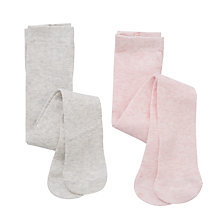 Buy John Lewis Baby Plain Tights, Pack of 2, Grey/Pink Online at johnlewis.com