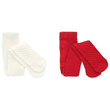 Buy John Lewis Baby Waffle Knit Tights, Pack of 2, Cream/Red Online at johnlewis.com