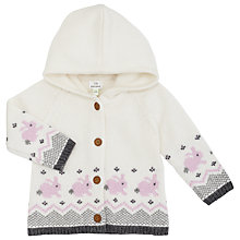 Buy John Lewis Baby Rabbit Fairisle Print Hooded Cardigan, Cream/Pink Online at johnlewis.com