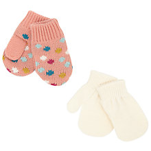 Buy John Lewis Baby's Polka Dot Mittens, Pack of 2, Cream Online at johnlewis.com