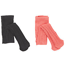 Buy John Lewis Baby Cable Knit Tights Tights, Pack of 2, Grey/Coral Online at johnlewis.com