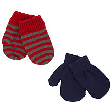 Buy John Lewis Baby's Mittens, Pack of 2, Grey/Red Online at johnlewis.com