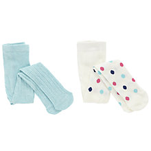 Buy John Lewis Baby Spot Cable Knit Tights, Pack of 2, Cream/Teal Online at johnlewis.com