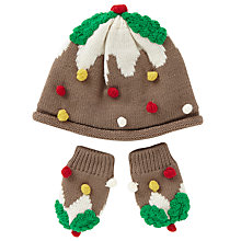 Buy John Lewis Baby's Pudding Hat and Mittens Set, Brown Online at johnlewis.com