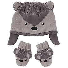 Buy John Lewis Baby's Hedgehod Hat and Mittens Set, Grey Online at johnlewis.com