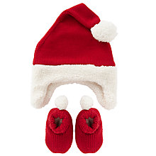 Buy John Lewis Baby's Santa Hat and Booties Set, Red Online at johnlewis.com