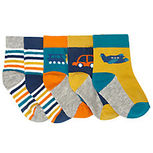 Buy John Lewis Baby Vehicle Socks, Pack of 5, Multi Online at johnlewis.com