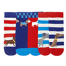 Buy John Lewis Baby's Dog Socks, Pack of 5, Multi Online at johnlewis.com