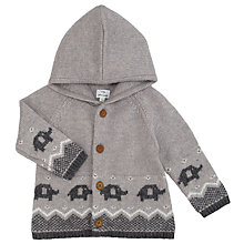 Buy John Lewis Baby Elephant Fairisle Hooded Cardigan, Grey Online at johnlewis.com