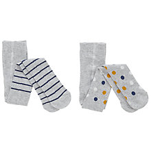 Buy John Lewis Baby Spot Stripe Tights, Pack of 2, Grey Online at johnlewis.com