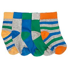 Buy John Lewis Baby Striped Socks, Pack of 5, Multi Online at johnlewis.com