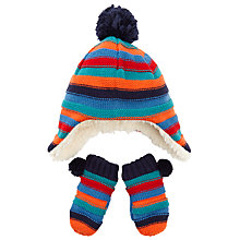 Buy John Lewis Baby's Striped Hat and Mitten Set, Multi Online at johnlewis.com