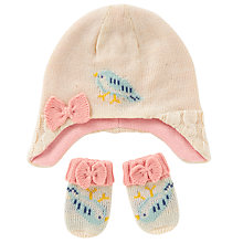 Buy John Lewis Baby's Bird Hat and Mittens Set, Cream Online at johnlewis.com