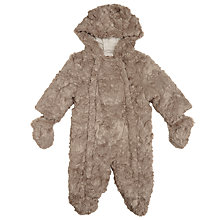 Buy John Lewis Baby's Teddy Faux Fur Snowsuit, Brown Online at johnlewis.com