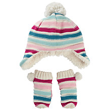 Buy John Lewis Baby's Striped Hat and Mittens Set, Multi Online at johnlewis.com