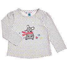 Buy John Lewis Baby's Long Sleeve Mouse Polka T-Shirt, Cream Online at johnlewis.com