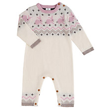 Buy John Lewis Baby Rabbit Fairisle Print Sleepsuit, Cream/Pink Online at johnlewis.com