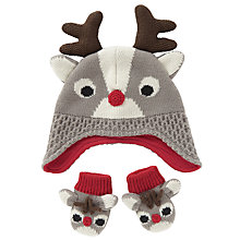 Buy John Lewis Baby's Reindeer Hat and Mittens Set, Grey/Brown Online at johnlewis.com