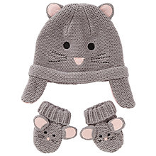 Buy John Lewis Baby's Mouse Hat and Mitten Set, Grey Online at johnlewis.com