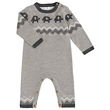 Buy John Lewis Baby Fairisle Elephant Print Sleepsuit, Grey Online at johnlewis.com