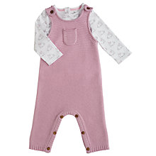 Buy John Lewis Baby Knitted Dungaree Rabbit Set, Cream/Pink Online at johnlewis.com
