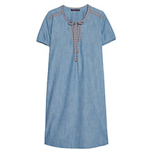 Buy Violeta by Mango Trimmed Denim Dress, Open Blue Online at johnlewis.com