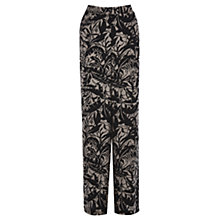 Buy Warehouse Pampas Leaf Wide Leg Trousers, Natural/Black Online at johnlewis.com