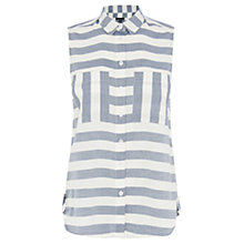Buy Warehouse Striped Sleeveless Shirt, Blue Online at johnlewis.com