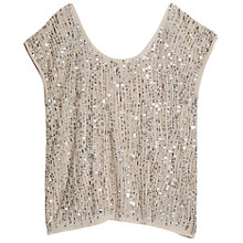 Buy Violeta by Mango Sequin Embellished Chiffon Blouse, Pastel Brown Online at johnlewis.com