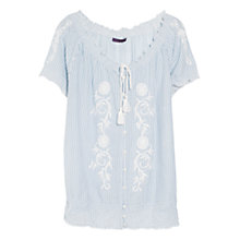 Buy Violeta by Mango Ruched Cotton Blouse, Windmill Blue Online at johnlewis.com
