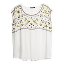 Buy Violeta by Mango Embroidered Panel Blouse, Yellow Online at johnlewis.com