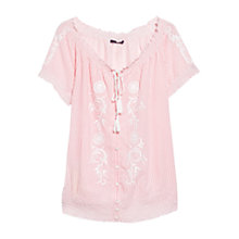Buy Violeta by Mango Ruched Blouse, Light Pastel Orange Online at johnlewis.com