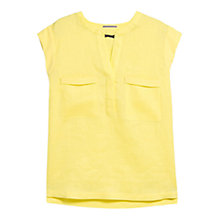 Buy Violeta by Mango Pocket Detail Linen Blend Blouse, Yellow Online at johnlewis.com