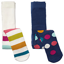 Buy John Lewis Baby Stripes Spots Tights, Pack of 2, Multi Online at johnlewis.com