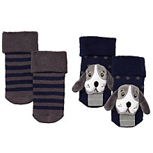 Buy John Lewis Baby Dog Rattle Socks, 2 Pack, Blue/Grey Online at johnlewis.com