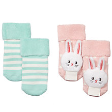 Buy John Lewis Baby Rabbit Rattle Socks, Pack of 2, Pink/Light Green Online at johnlewis.com