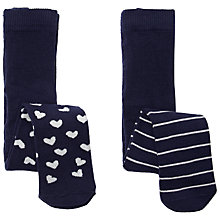 Buy John Lewis Baby Stripes Hearts Socks, Pack of 2, Navy Online at johnlewis.com