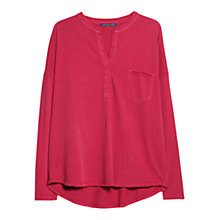 Buy Violeta by Mango Pocket Detail Linen-Blend T-Shirt, Dark Pink Online at johnlewis.com