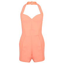 Buy Miss Selfridge Halter Neck Playsuit, Coral Online at johnlewis.com