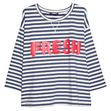 Buy Violeta by Mango Cotton-Blend Striped Message Sweatshirt, Pastel Blue Online at johnlewis.com