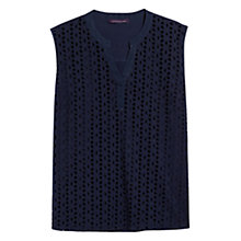 Buy Violeta by Mango Openwork Blouse, Dark Blue Online at johnlewis.com