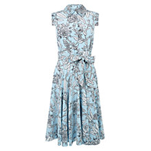 Buy Hobbs Silk Polencia Dress, Barely Blue/Ivory Online at johnlewis.com