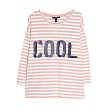 Buy Violeta by Mango Cotton-Blend Striped Message Sweatshirt, Pastel Pink Online at johnlewis.com