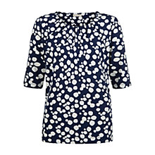 Buy Hobbs Ink Spot T-shirt, Ivory/Navy Online at johnlewis.com